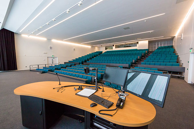 A large lecture theatre seating up to 450 delegates