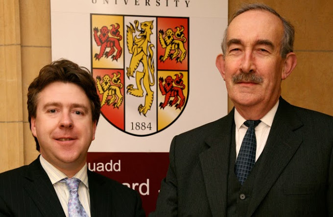 Prof. Dermot Cahill, Head of School, with Judge Anthony Seys Llewelyn, Designated Civil Judge for Wales