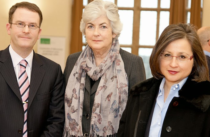 Dr Gillian Davies (centre), Barrister at Hogarth Chambers in London, with Mark Hyland and Professor Suzannah Linton of Bangor Law School