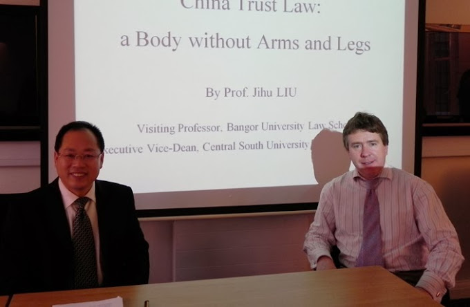 Professor Jihu Liu (left), Visiting Scholar from Central South University School of Law, China, with Prof. Dermot Cahill, Head of School