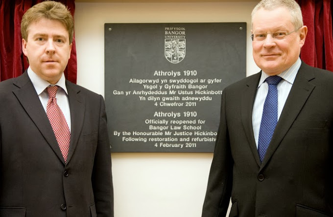 Mr Justice Hickinbottom (right), of the High Court of England and Wales, marking the opening of the refurbished Law School building, Athrolys