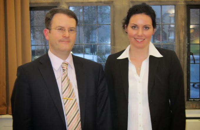 Guest lecturer Dr Karen McAuliffe from the University of Exeter's Law School (pictured with Mark Hyland)