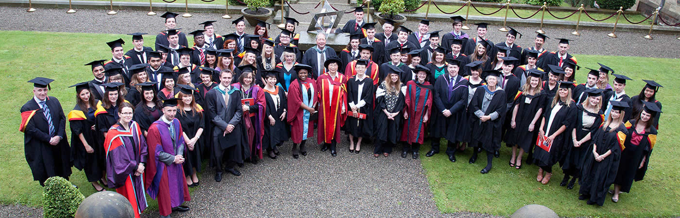 LLB Law conversion course students at Bangor University after their graduation ceremony
