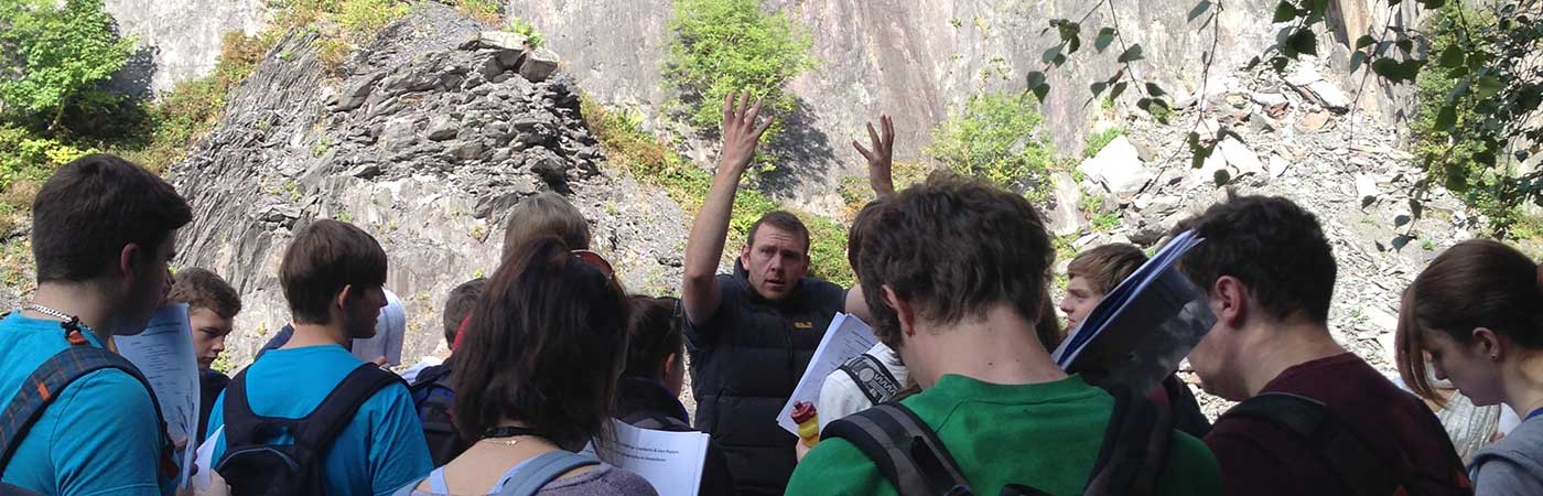 Dr Graham Bird emphasising the role of uplift in the making of Snowdonia on the freshers' fieldtrip