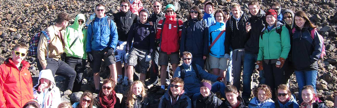 3rd year students studying volcano development atop Mount Teide, Tenerife