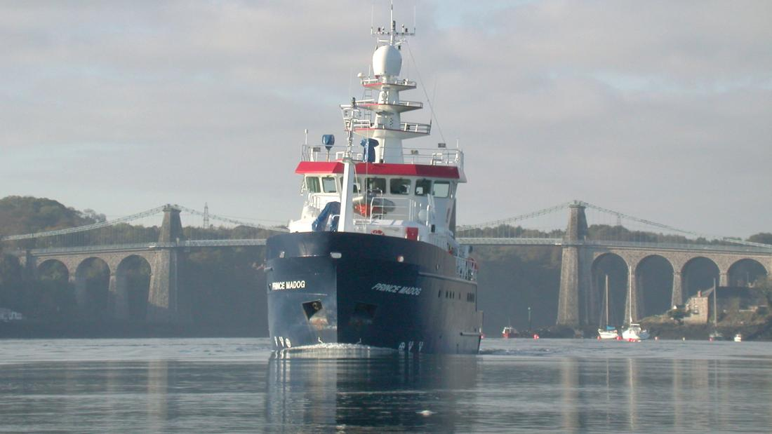 Bangor University's Prince Madog research vessel on the Menai strait