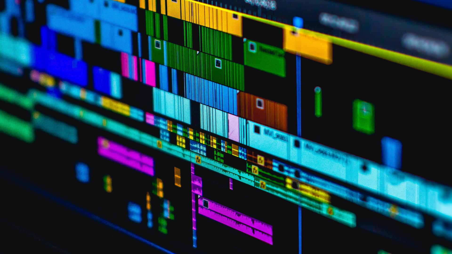 colourful video editing media screen