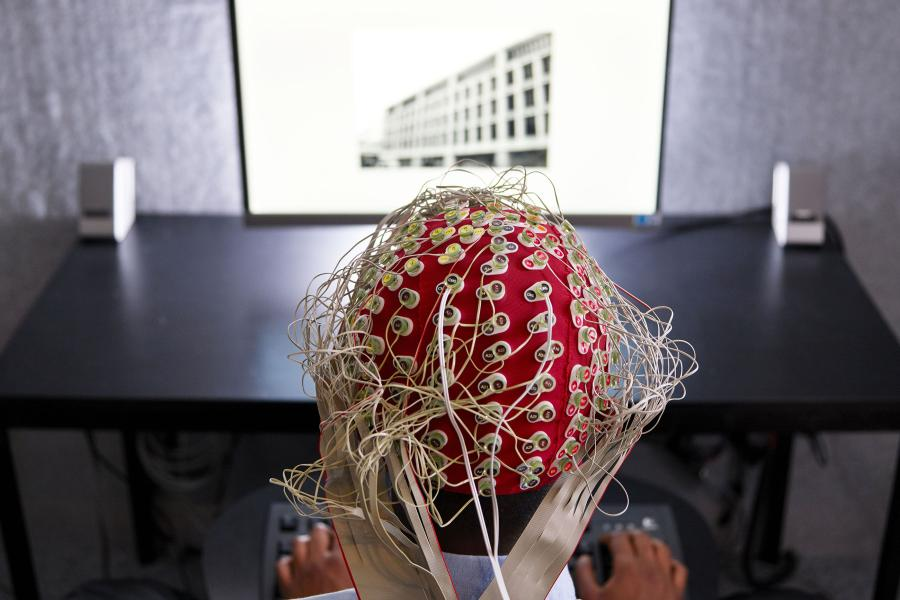 Volunteer participating in an experiment on brain activity