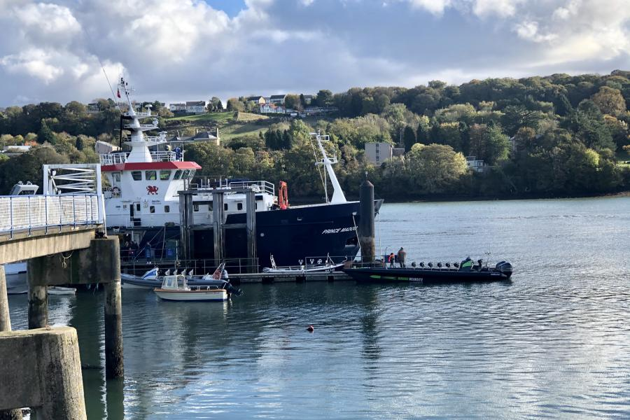Prince Madog, the University's Research vessel on the Menai Straits