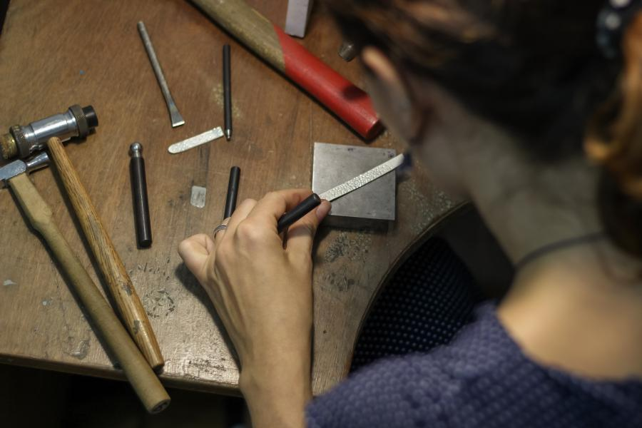Creating jewellery in the workshop