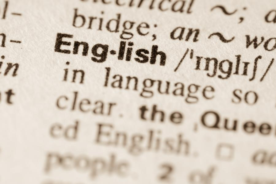Image of the entry 'English' in a dictionary