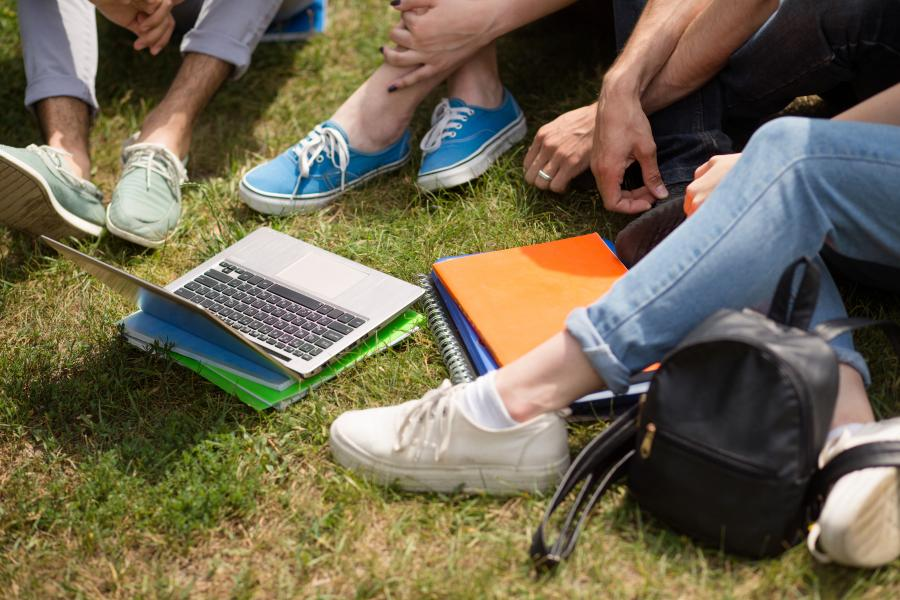 Student sitting on grass looking at laptop