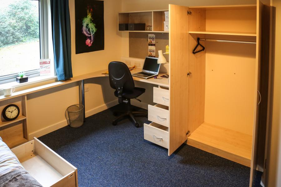 Storage space in a large room in Adda halls of residence, Ffriddoedd Student Village
