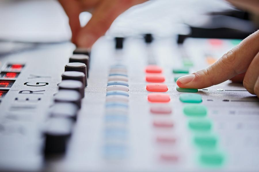 Close-up of sound mixing deck