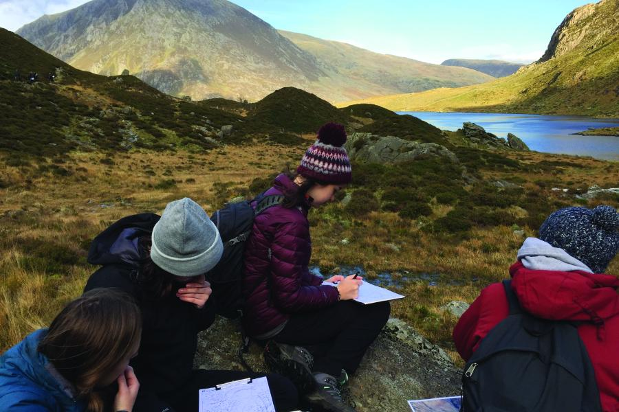 Students mapping at Cwm Idwal, Snowdonia