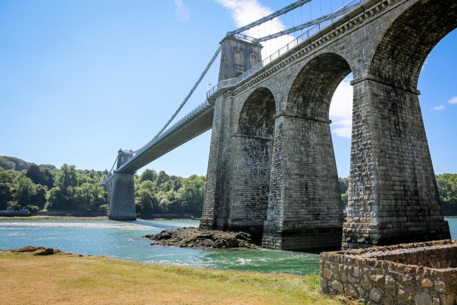 Menai Bridge, taken from the shore of the Mania Straights on Anglesey