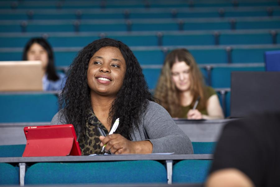 Students in Pontio lecture theatre