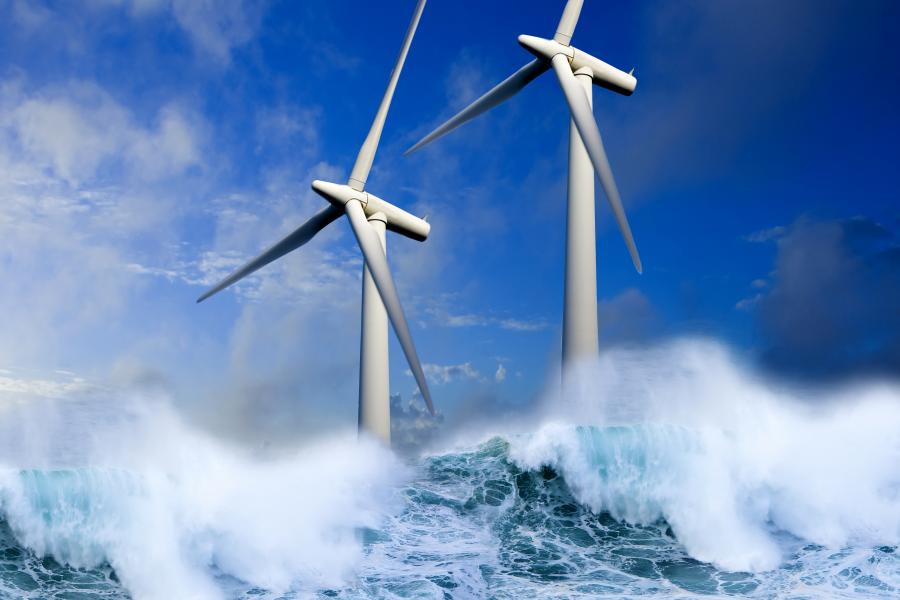 Wind turbines generating green energy at sea