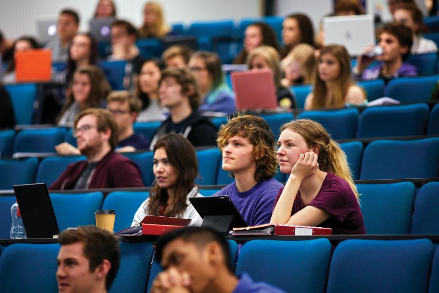 Students in a lecture in Pontio