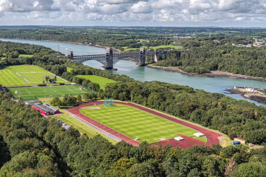 Ariel view of Treborth sports facilities